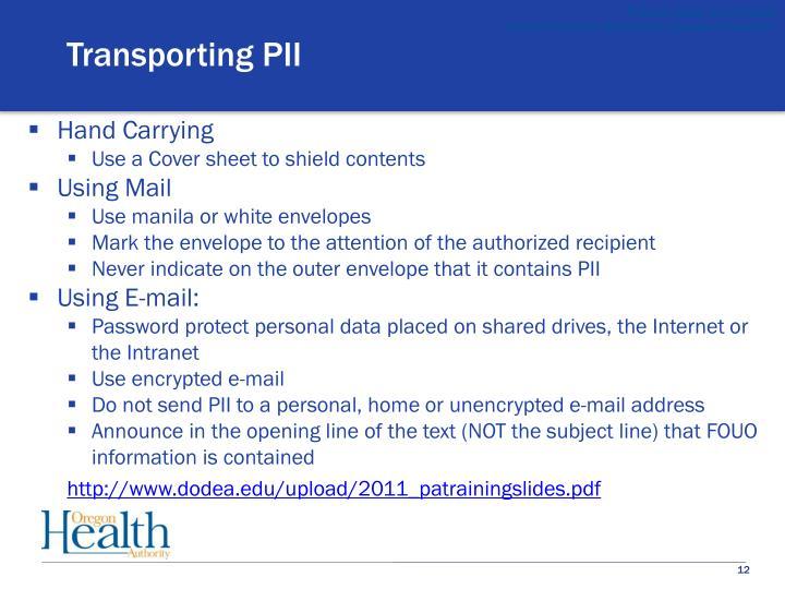 Transporting PII