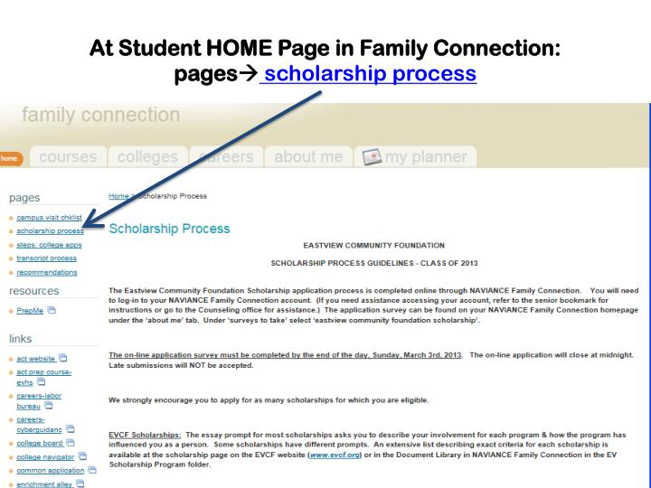 At Student HOME Page in Family Connection:
