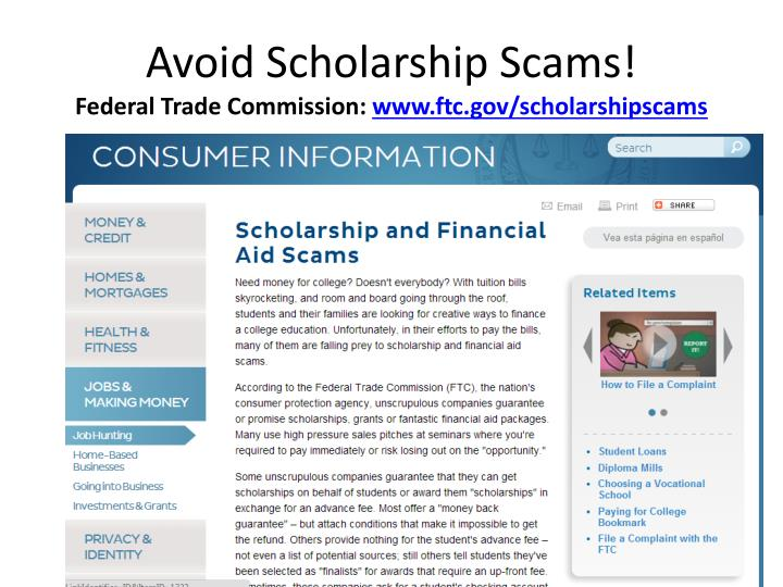 Avoid Scholarship Scams!