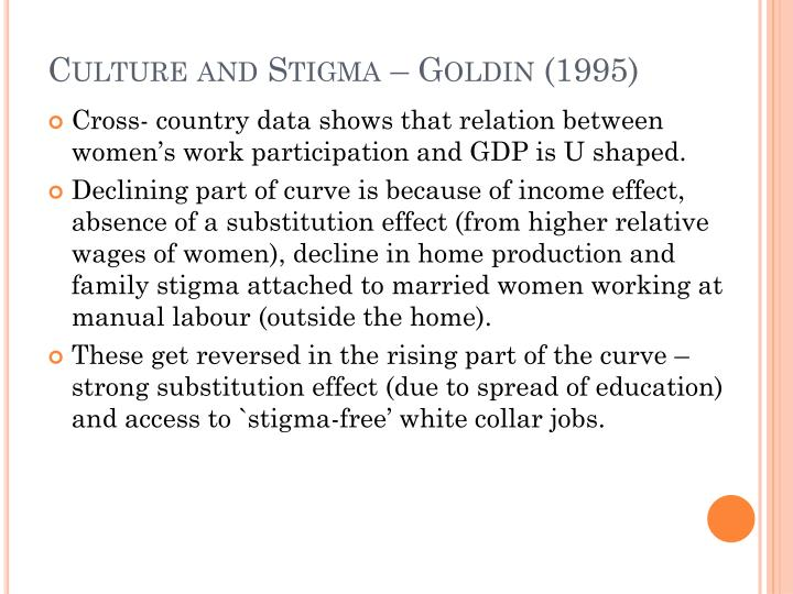Culture and Stigma – Goldin (1995)