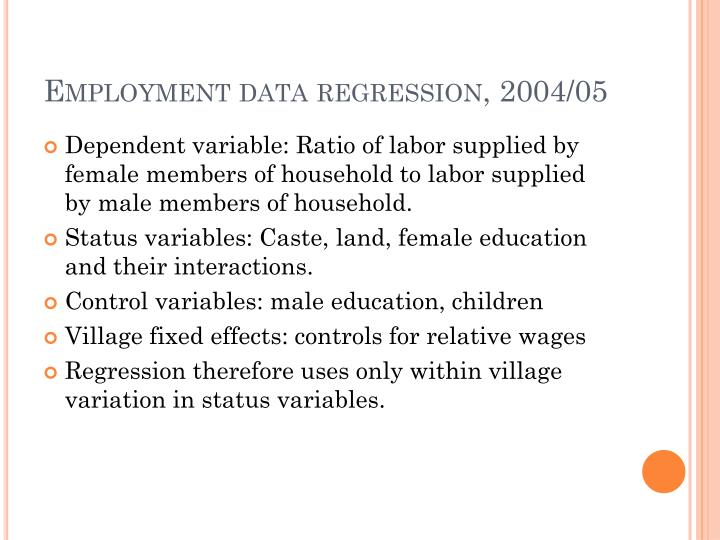 Employment data regression, 2004/05
