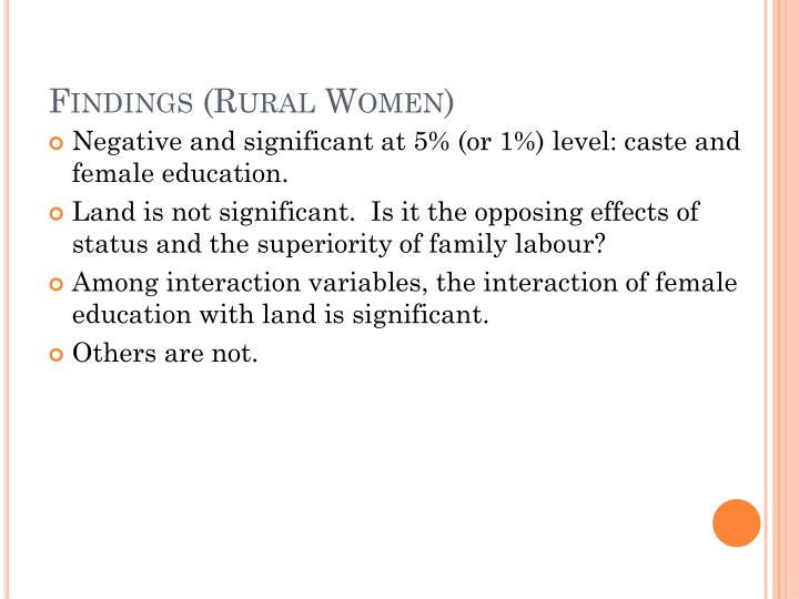 Findings (Rural Women)