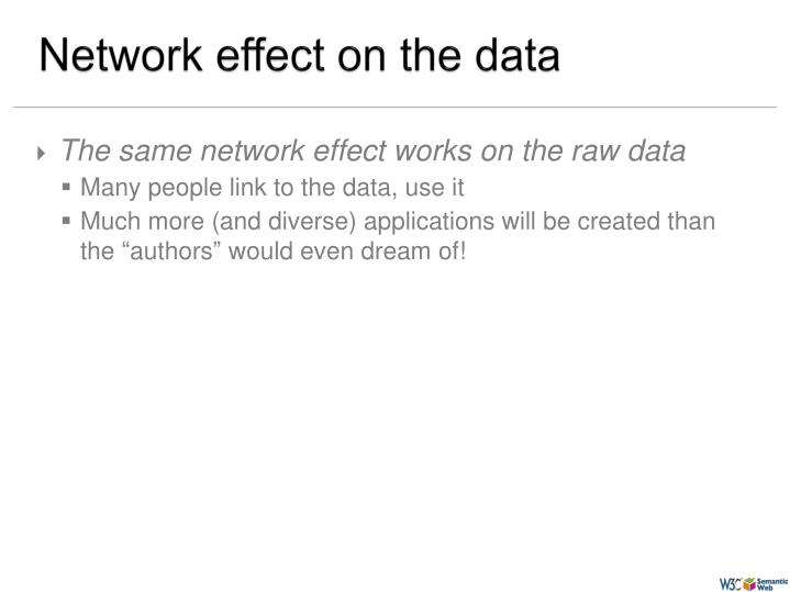 Network effect on the data
