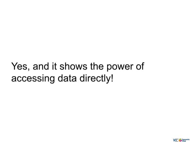 Yes, and it shows the power of accessing data directly!