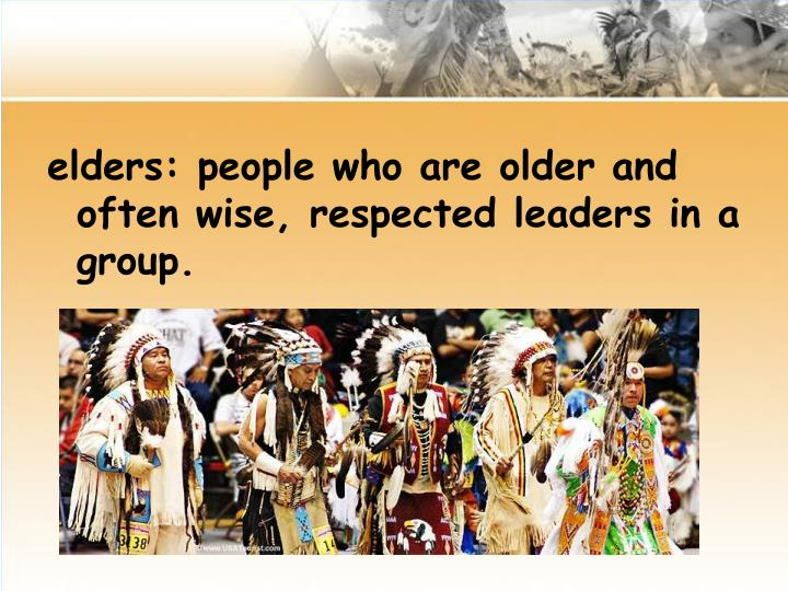 elders: people who are older and often wise, respected leaders in a group.