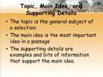 topic main idea and supporting details