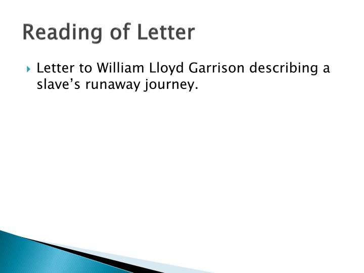 Reading of Letter