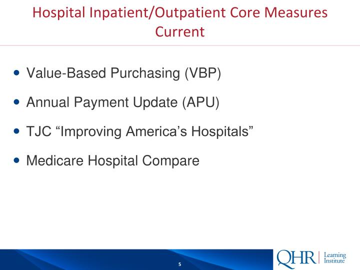 Hospital Inpatient/Outpatient Core Measures