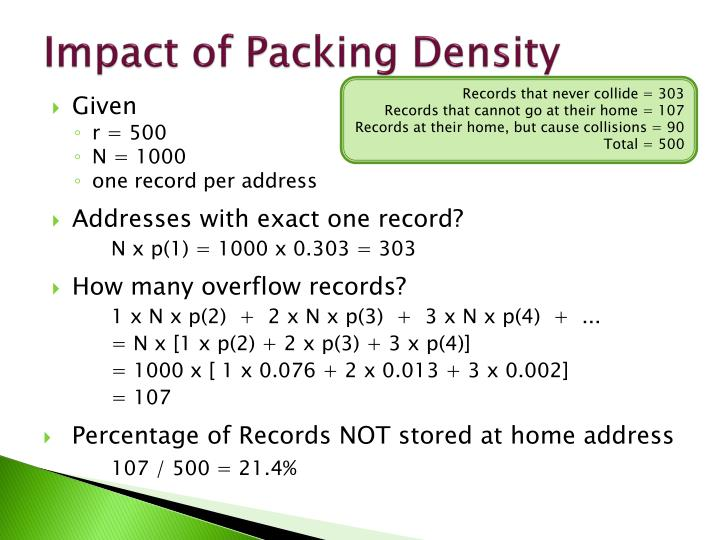 Impact of Packing Density