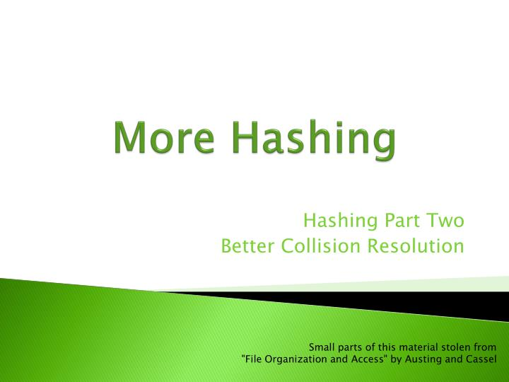 More hashing
