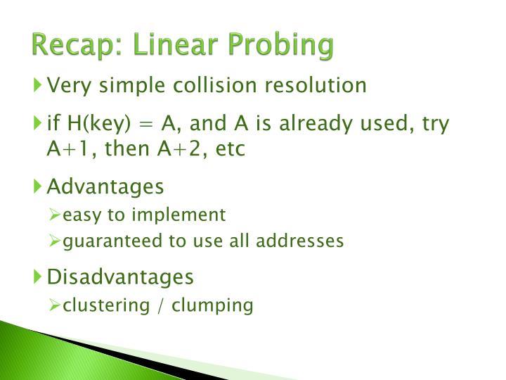 Recap: Linear Probing