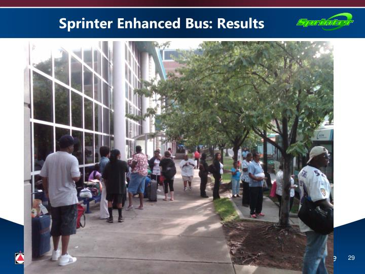 Sprinter Enhanced Bus: Results