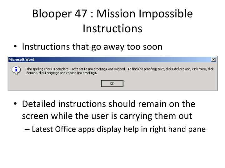 Blooper 47 : Mission Impossible Instructions