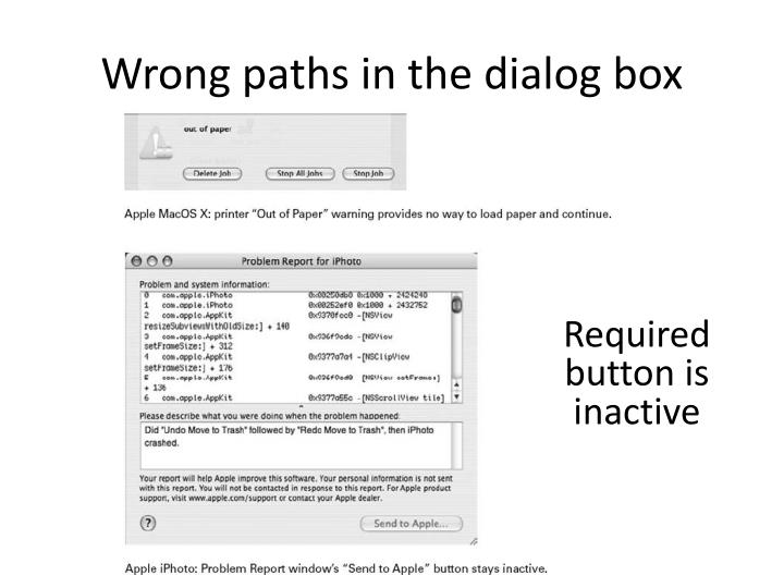 Wrong paths in the dialog box