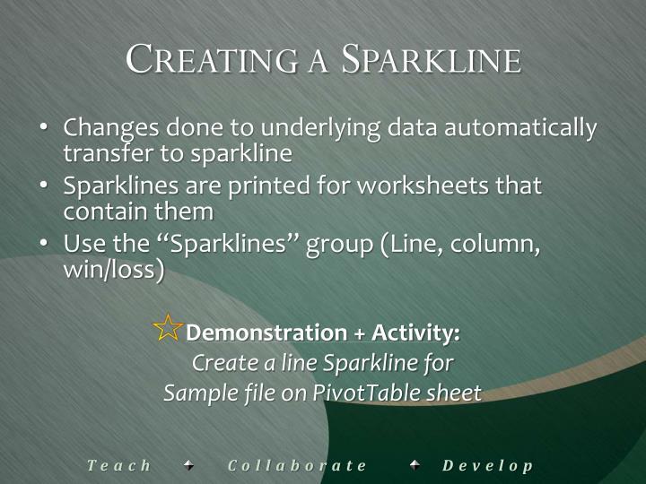 Creating a Sparkline