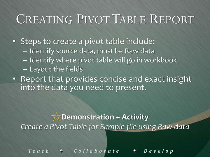 Creating Pivot Table Report