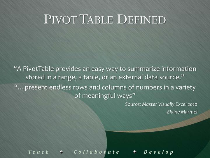 Pivot Table Defined