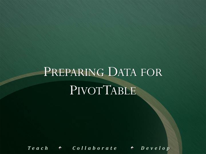 Preparing Data for PivotTable