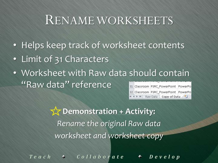 Rename worksheets