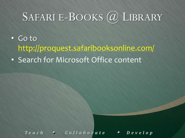 Safari e-Books @ Library