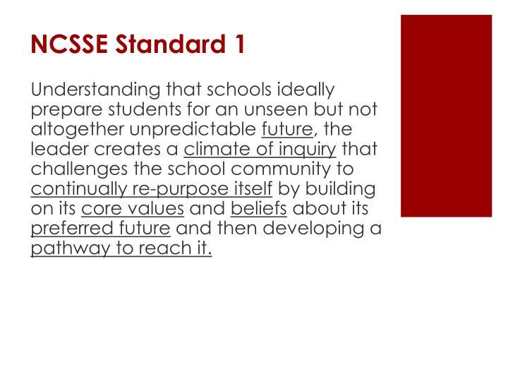 NCSSE Standard 1
