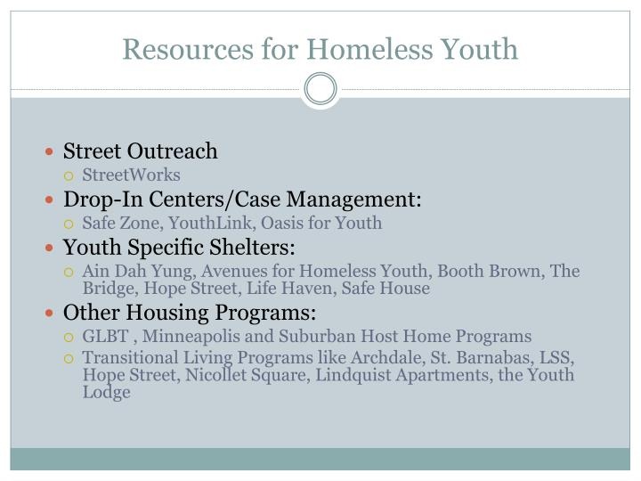 Resources for Homeless Youth