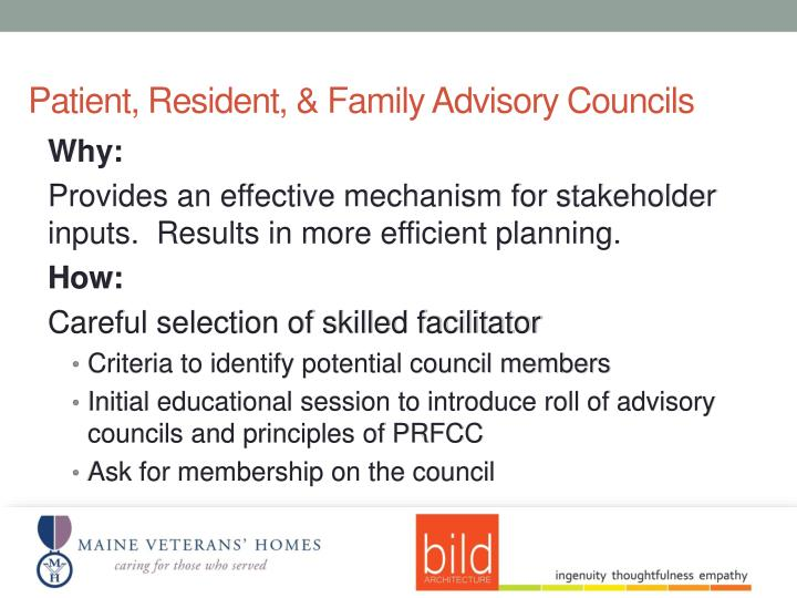Patient, Resident, & Family Advisory Councils