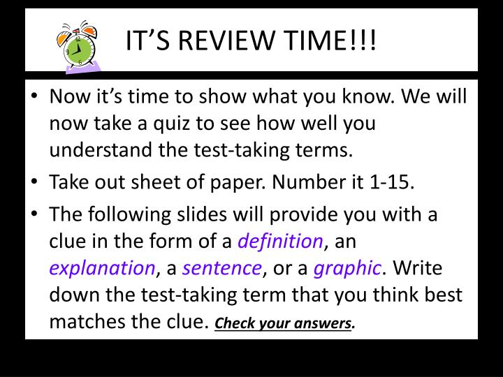 IT'S REVIEW TIME!!!