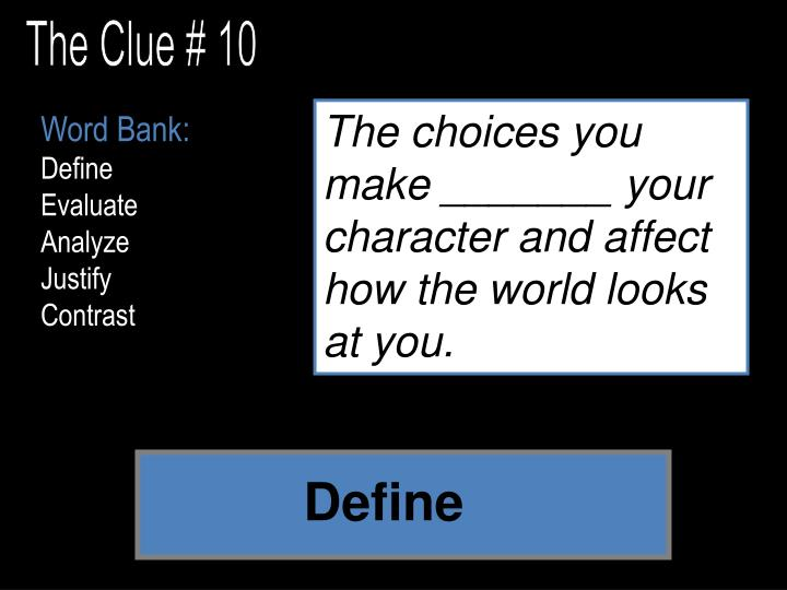 The Clue # 10