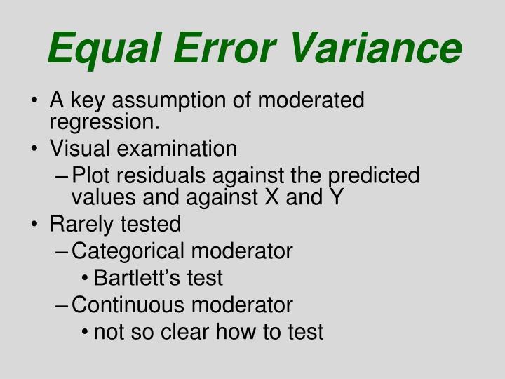Equal Error Variance
