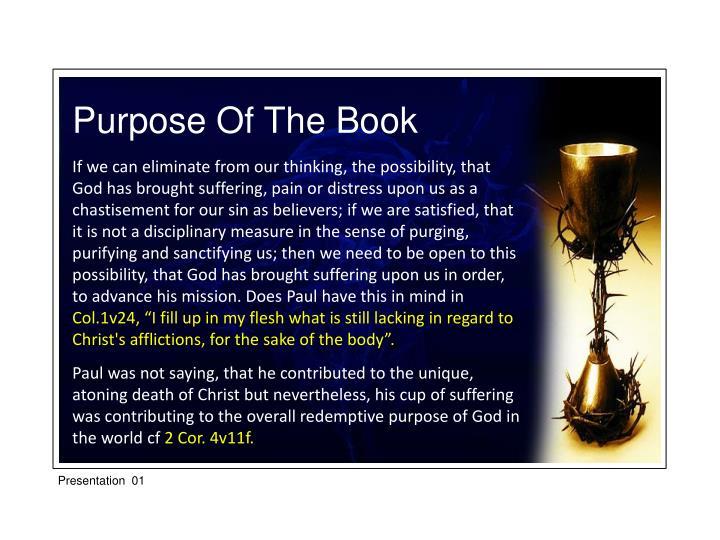 Purpose Of The Book