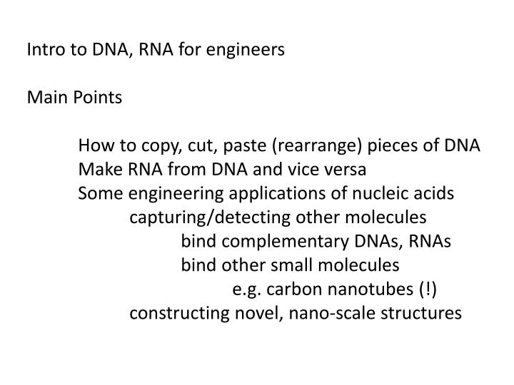 Intro to DNA, RNA for engineers