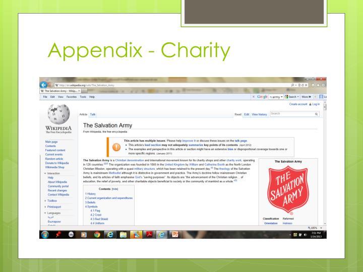 Appendix - Charity