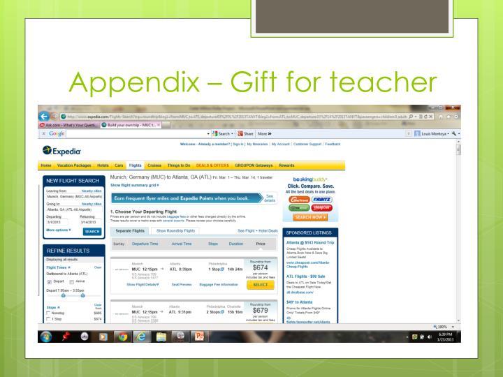 Appendix – Gift for teacher