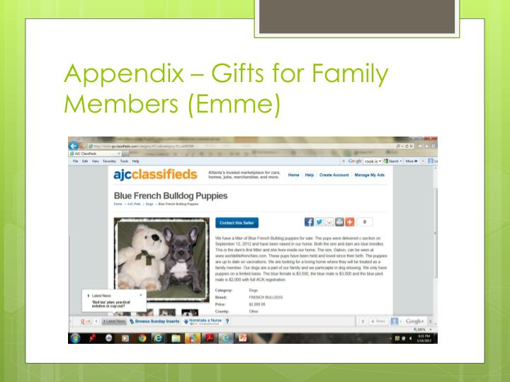 Appendix – Gifts for Family Members (