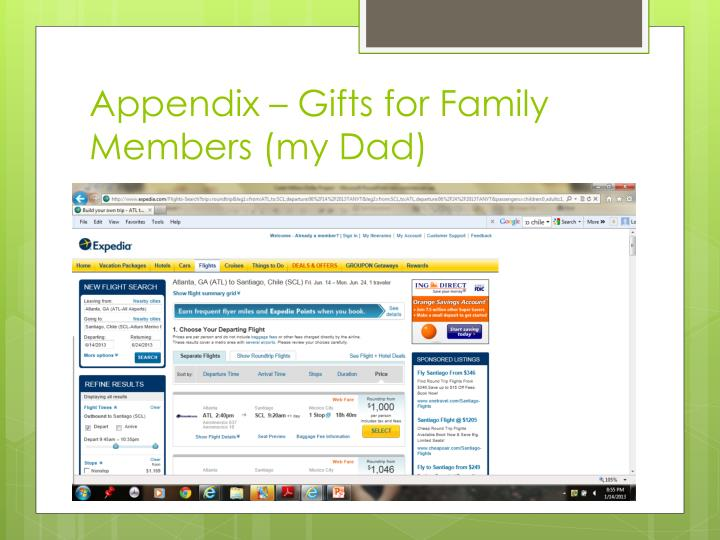 Appendix – Gifts for Family Members (my