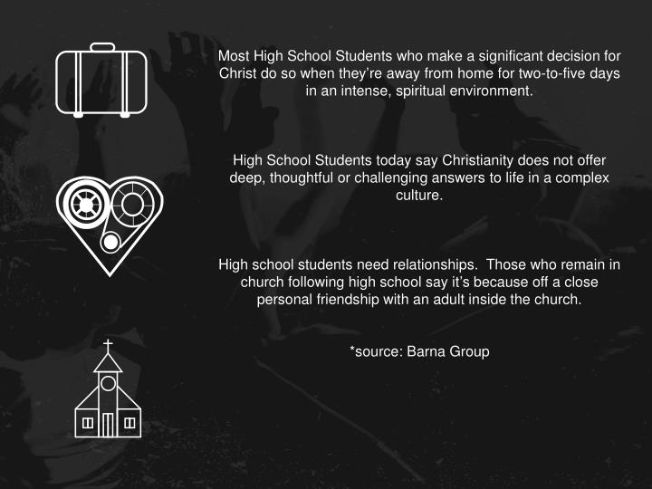 Most High School Students who make a significant decision for Christ do so when they