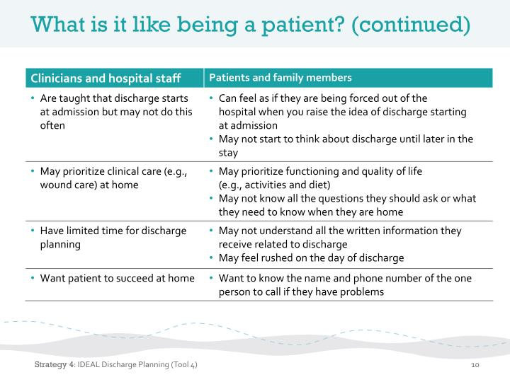 What is it like being a patient? (continued)