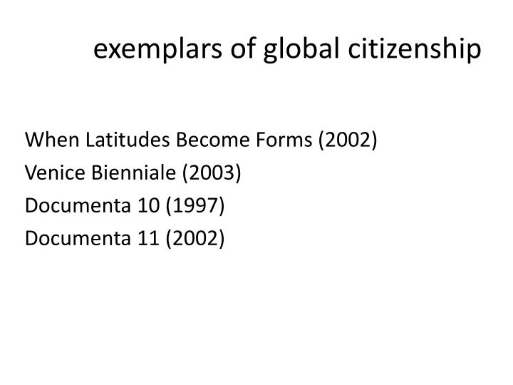 exemplars of global citizenship