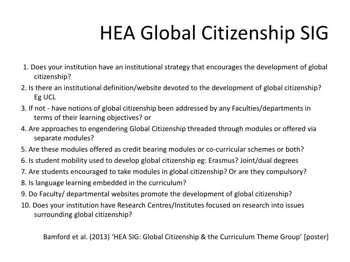 HEA Global Citizenship SIG