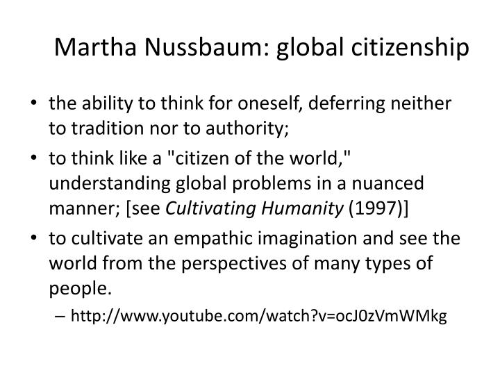 Martha Nussbaum: global citizenship