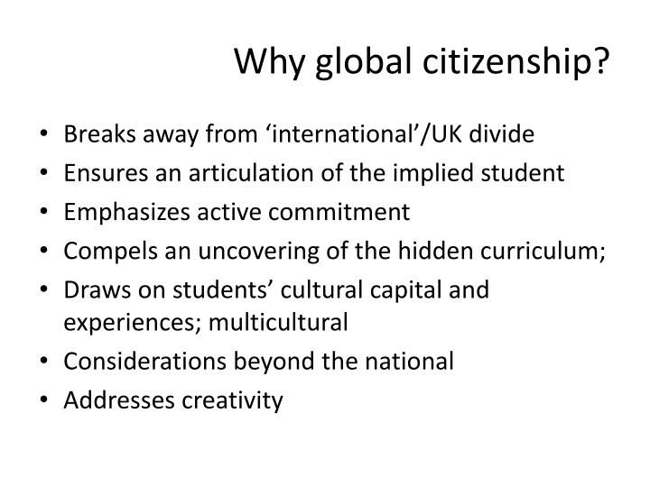 Why global citizenship?
