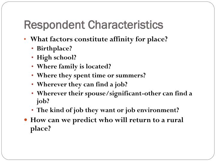 Respondent Characteristics