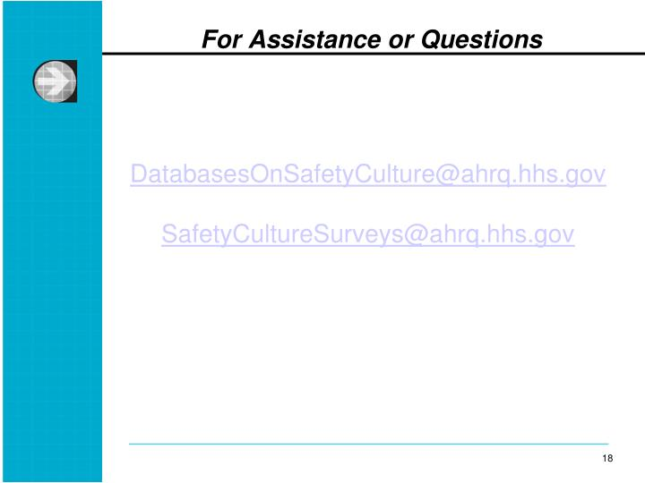 DatabasesOnSafetyCulture@ahrq.hhs.gov