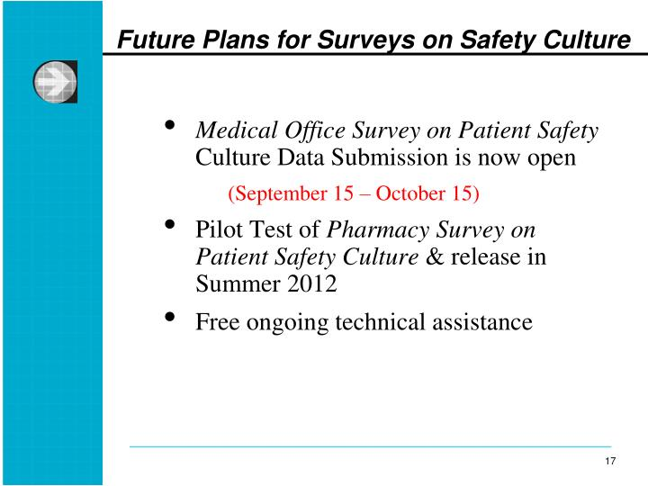 Future Plans for Surveys on Safety Culture