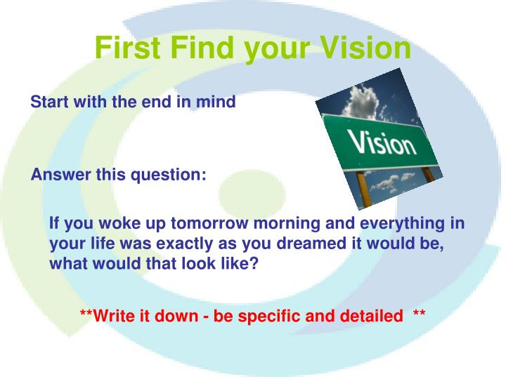 First Find your Vision