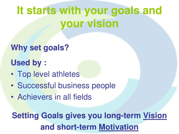 It starts with your goals and your vision