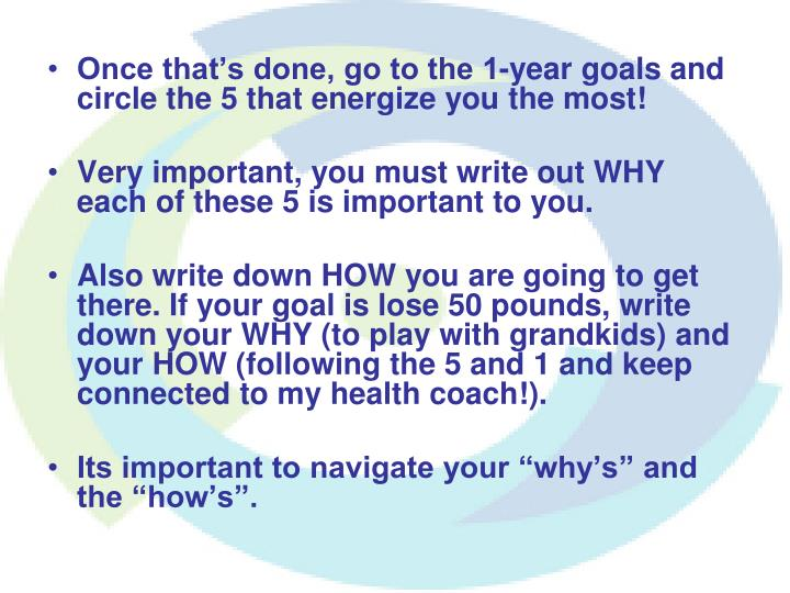 Once that's done, go to the 1-year goals and circle the 5 that energize you the most!