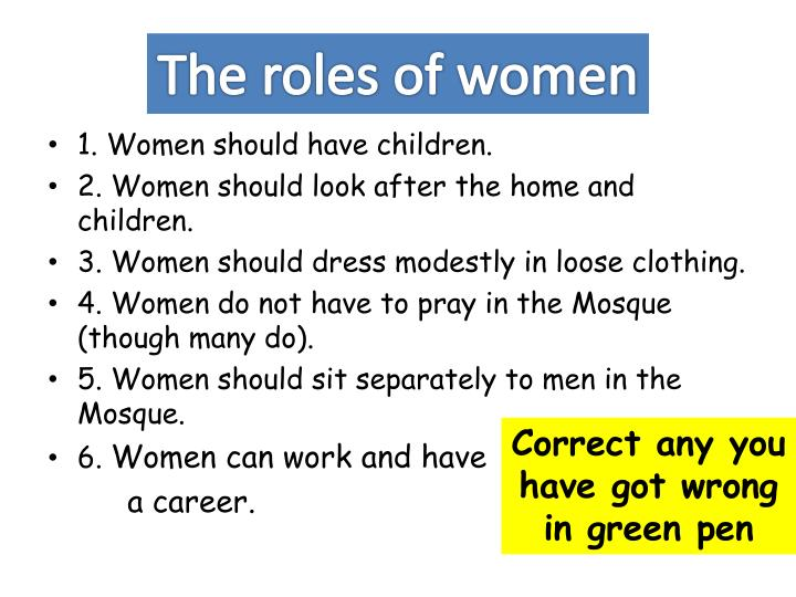 The roles of women
