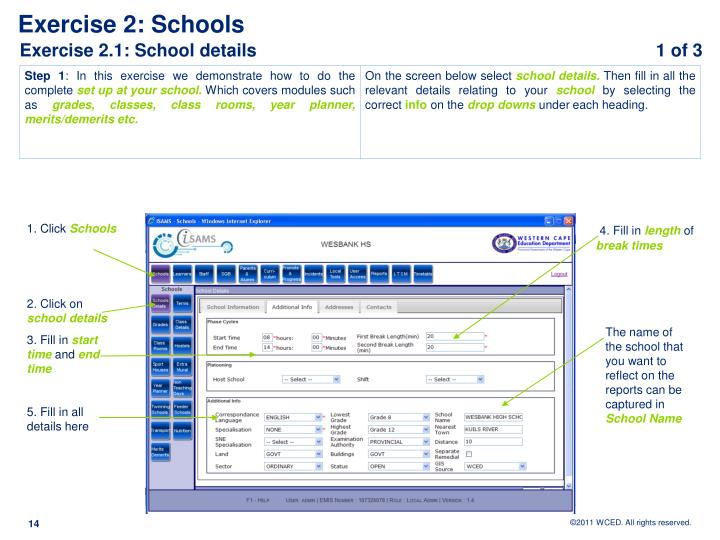 Exercise 2.1: School details					            1 of 3